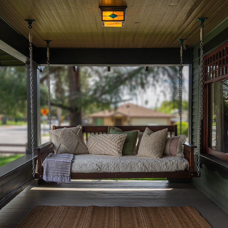 Porch Swing with Spring St Ceiling Lights