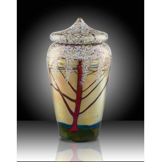 "Luster Art Glass"" Jar with Lid and Cherry Blossom Design"
