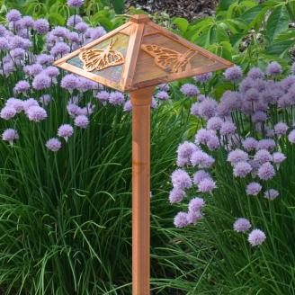Copper Path Light with Butterfly Design