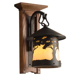 Huntington Led Sconce 413 13 Craftsman Lantern On Oak Mount