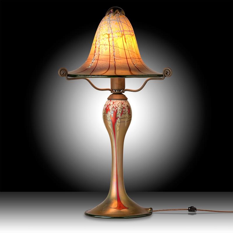 Luster Art Glass Small Table Lamp With Cherry Blossom Design