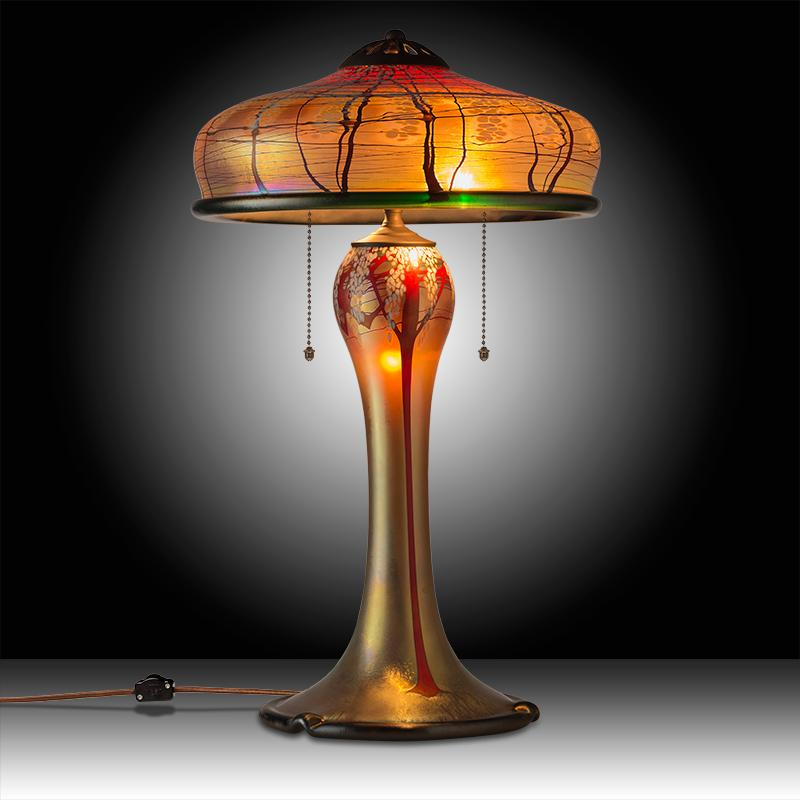 Luster Art Glass Table Lamp With Cherry Blossom Design Craftsman