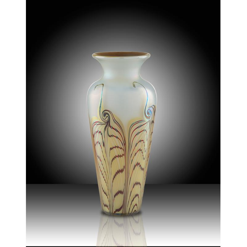 Fumed Art Gl Opal Vase With Feather