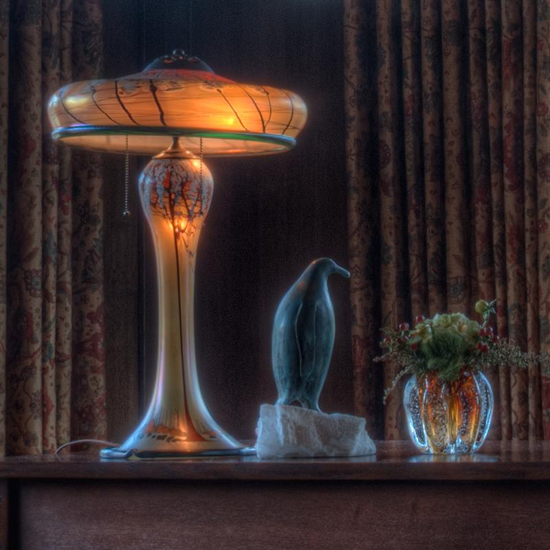 Quot Luster Art Glass Table Lamp With Cherry Blossom Design