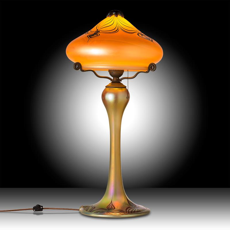 Luster art glass table lamp with gold peacock designcraftsman gold peacock aloadofball Images